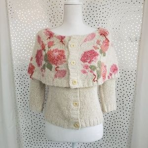 Moth Floral Cape Sweater Cardigan - XS